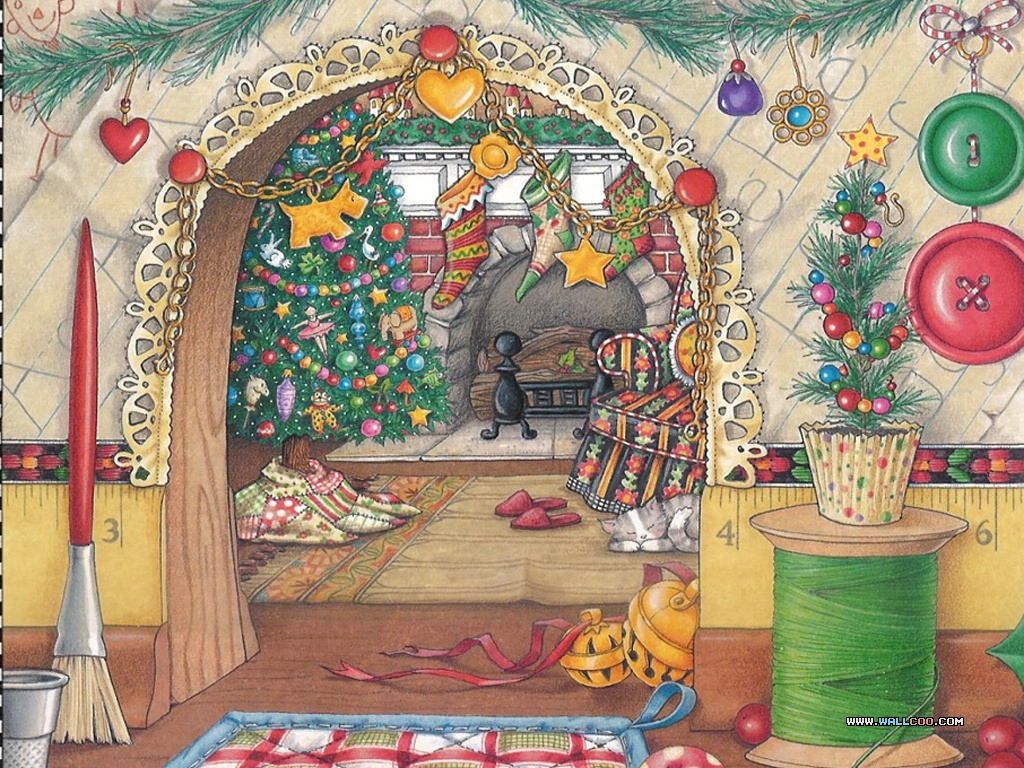 MARY ENGELBREIT CHRISTMAS CLIPART 圣誕節裝飾28 - christmas-wallpapers-A-28.