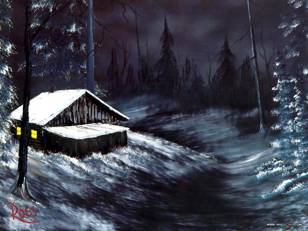 bob ross csg004 winter night Pinturas al Oleo, Imagenes de Bob Ross