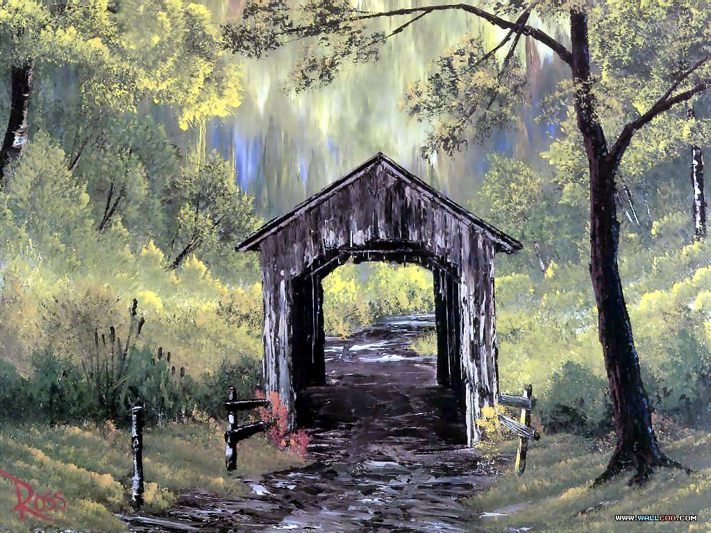 bob ross csg006 covered bridge Pinturas al Oleo, Imagenes de Bob Ross