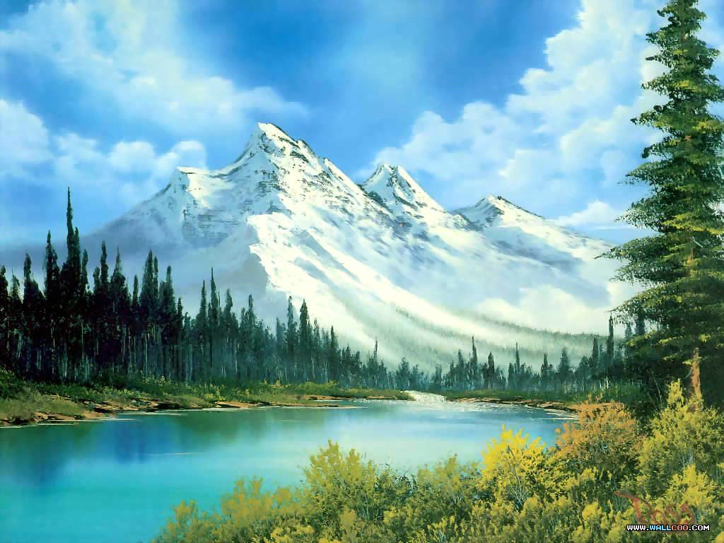 bob ross csg014 mountain waterfall Pinturas al Oleo, Imagenes de Bob Ross