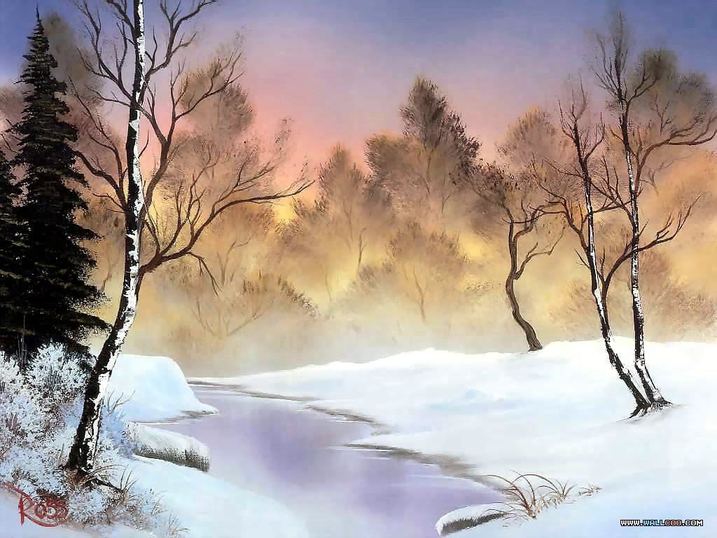 bob ross csg017 winter stillness Pinturas al Oleo, Imagenes de Bob Ross
