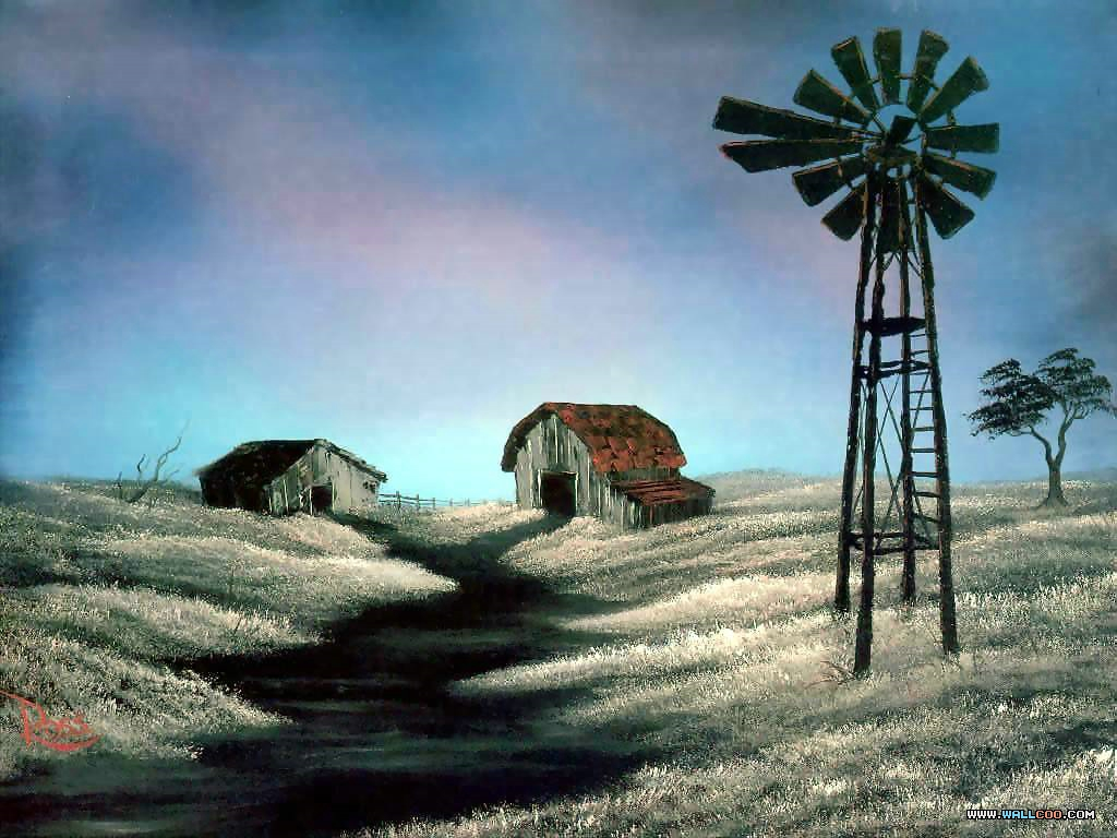 bob ross csg023 the windmill Pinturas al Oleo, Imagenes de Bob Ross