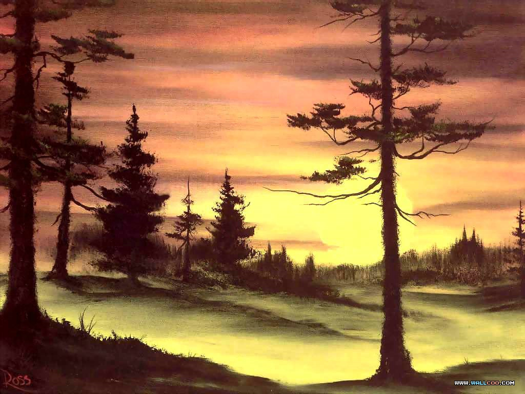 bob ross csg029 evergreens at sunset Pinturas al Oleo, Imagenes de Bob Ross