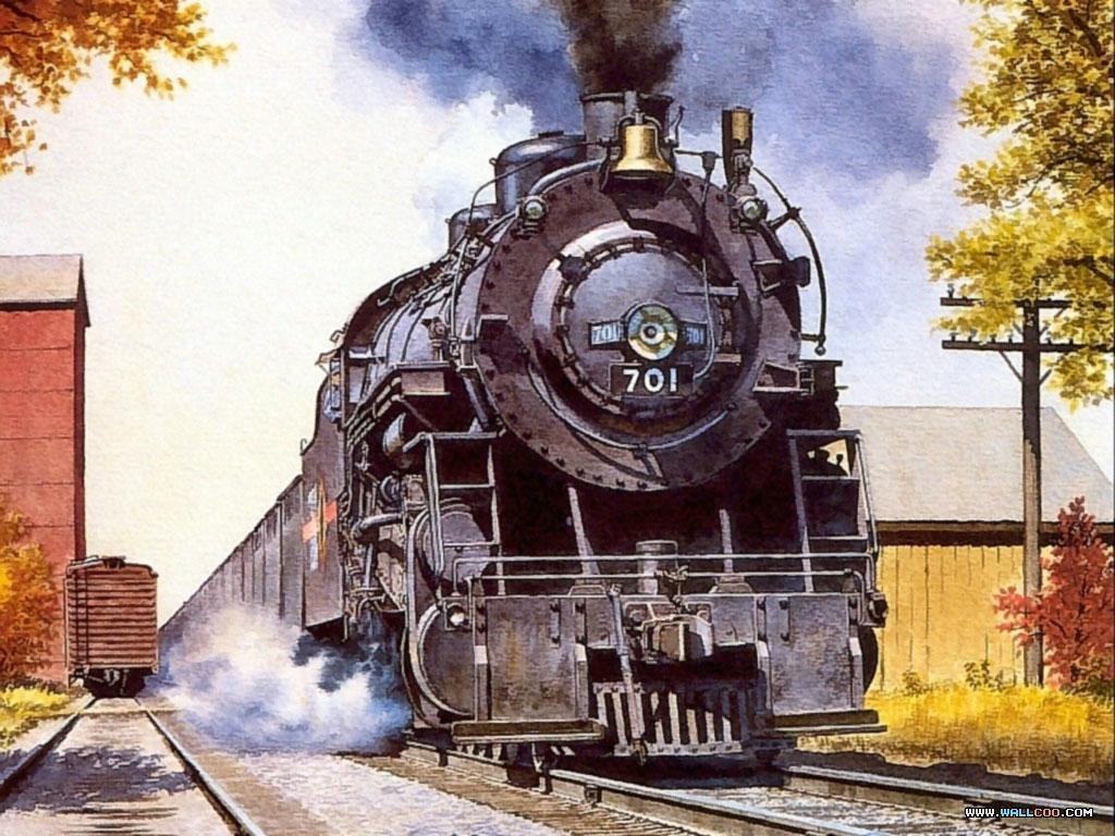 桌布天堂 歐美手繪插畫桌布 Howard Fogg作品 火車之旅5